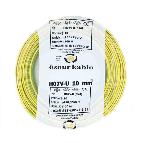 Öznur 10 mm NYA Kablo-100m (Sarı/Yeşil)
