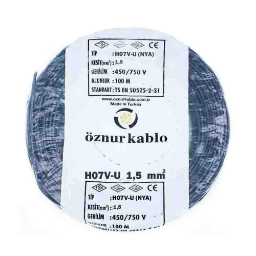 Öznur 1,5 mm NYA Kablo-100m (Siyah)