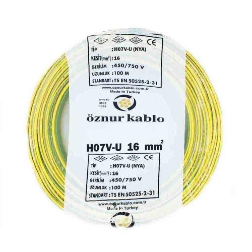 Öznur 16 mm NYA Kablo-100m (Sarı/Yeşil)