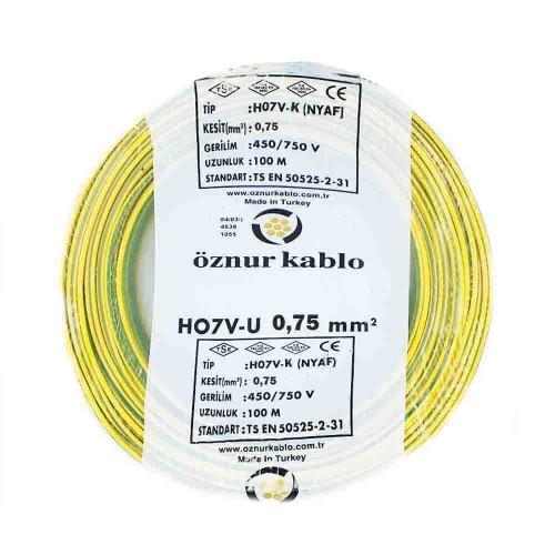 Öznur 1X0,75 mm NYAF Kablo-100m (Sarı/Yeşil)