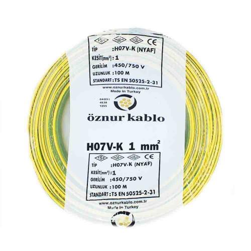 Öznur 1X1 mm NYAF Kablo-100m (Sarı/Yeşil)
