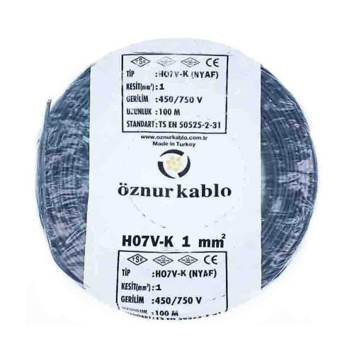 Öznur 1X1 mm NYAF Kablo-100m (Siyah)