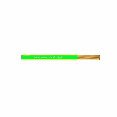 Öznur 1x1 mm NYAF Kablo-1m (Sarı/Yeşil)