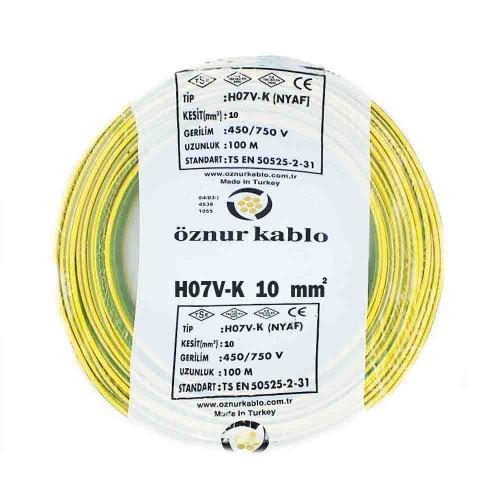 Öznur 1X10 mm NYAF Kablo-100m (Sarı/Yeşil)