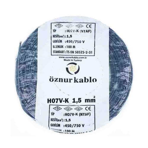 Öznur 1x1,5 mm NYAF Kablo-100m (Siyah)