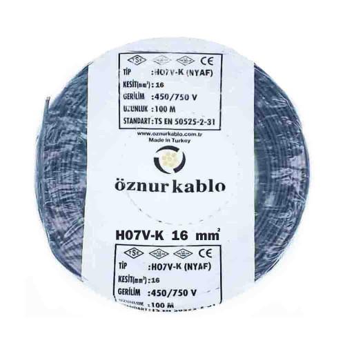 Öznur 1X16 mm NYAF Kablo-100m (Siyah)