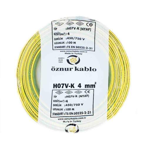 Öznur 1x4 mm NYAF Kablo-100m (Sarı/Yeşil)
