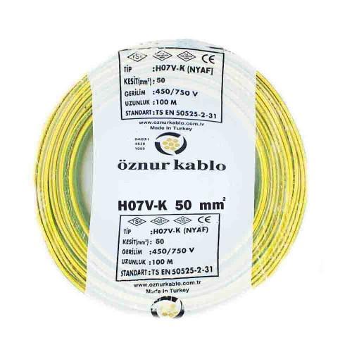 Öznur 1X50mm NYAF Kablo-100m (Sarı/Yeşil)