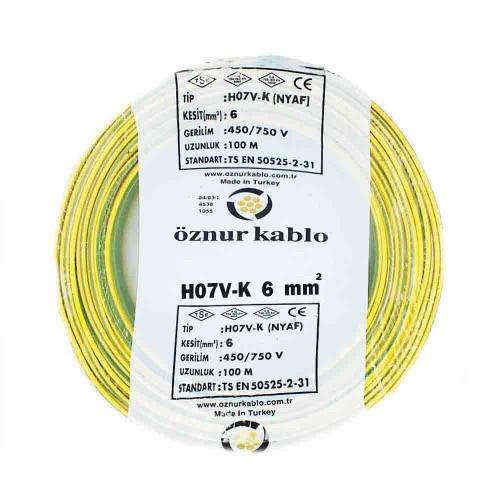 Öznur 1X6 mm NYAF Kablo-100m (Sarı/Yeşil)