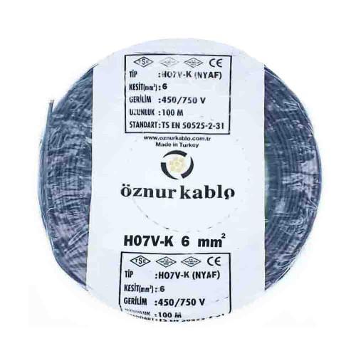 Öznur 1X6 mm NYAF Kablo-100m (Siyah)