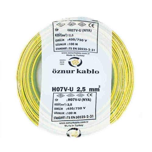 Öznur 2,5 mm NYA Kablo-100m (Sarı/Yeşil)