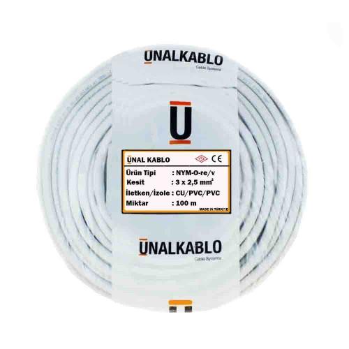 Ünal 3X2,5 mm NYM (Antigron) Kablo-100m