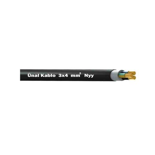 Ünal 3X4 mm NYY (Yeraltı) Kablo-1m